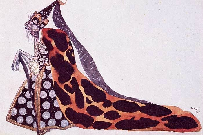 La Fée Carbosse... zimzimcarillon.canalblog.com | The bad fairy Carabosse by Léon Bakst, who created the décor and about 300 costume designs in 2 months for Diaghilev's lavish 1921 production of The Sleeping Princess in London.