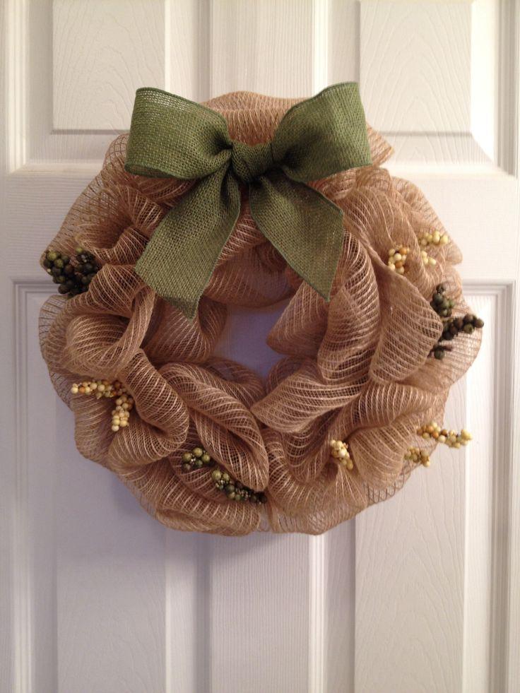 Burlap mesh wreath with hunter green burlap ribbon and for Green burlap ribbon