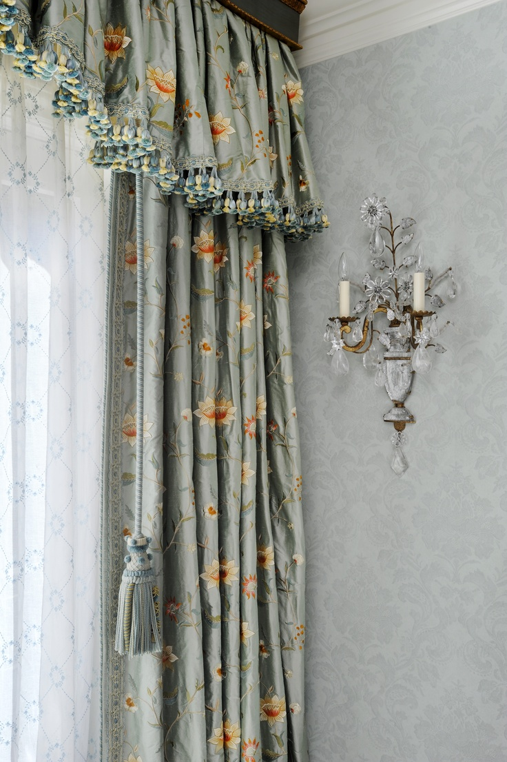 Gathered curtains - Waterfall Style Gathered Valance With Trim