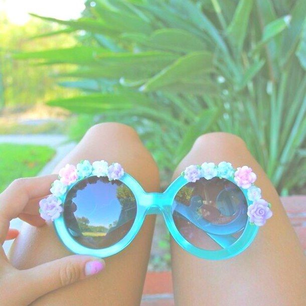 Blue Bright Filter Flowers Girl Girly Hipster Palm Trees Pastel Pink Purple Roses Summer Sunglasses Teen Tropical Tumblr