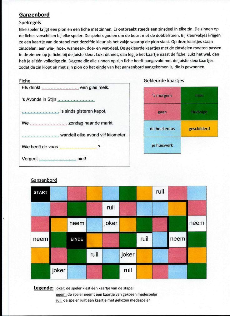 """Spel zinnen: """"Ganzenbord"""" (Dit spel kan met meerdere leerlingen gespeeld worden (met 3, 4, ...) waarbij het ieder voor zich is. Maar het kan ook anders: als bv. 4 leerlingen dit spel spelen, dan kan je 2 teams van elk 2 leerlingen vormen, ze spelen dan per 2 tegen elkaar. Je kan de leerlingen hun resultaat laten vastleggen door ze van hun 'ingevulde' fiche een foto te laten trekken. Ze moeten dan wel hun naam op de fiche schrijven.)"""