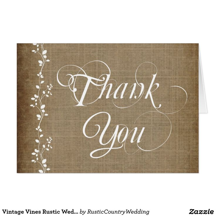bridal shower thank you cards etiquette%0A Vintage Vines Rustic Wedding Thank You Cards