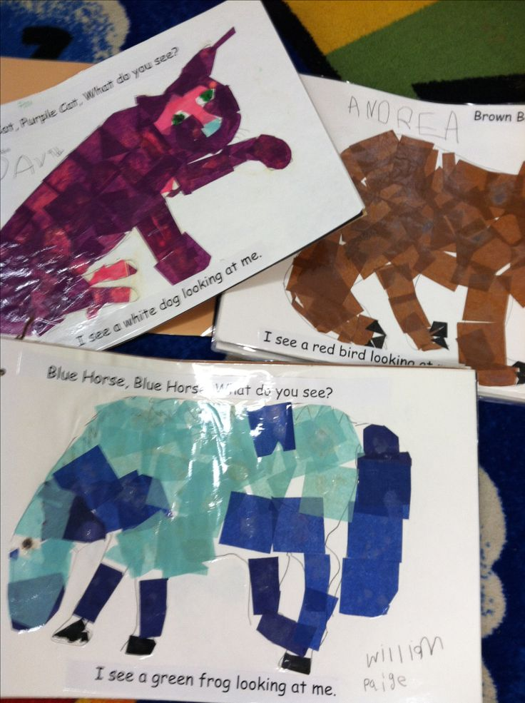 Students use tissue to mimic hues in illustrations in Brown Bear... By Eric Carle