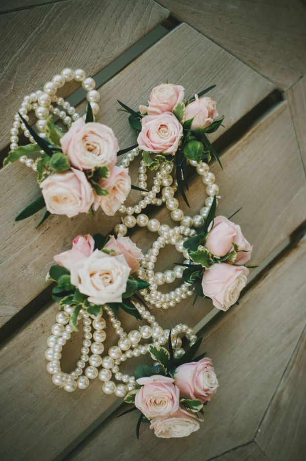 Pearl and Pink Rose Corasages | photography by http://chantelmarie.com/
