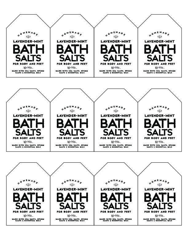 DIY Bath Salt labels - print these and use the recipe found at The Choice Umbrella blog to make your own bath salts!