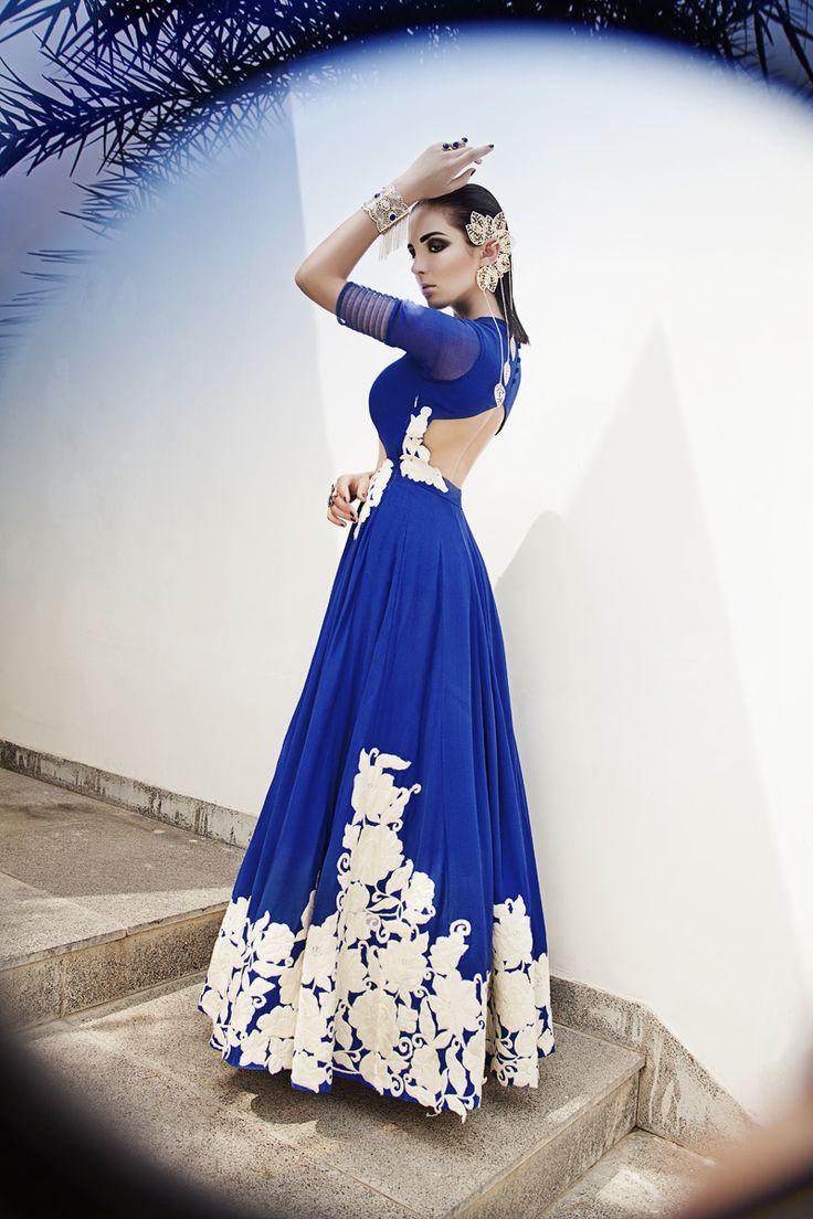 Blue Anarkli. Love the back and details #backless