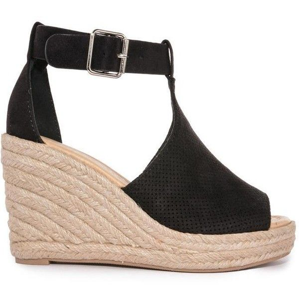 a19d9a6679c Black Cassie Espadrille Wedge Sandal ($45) ❤ liked on Polyvore ...