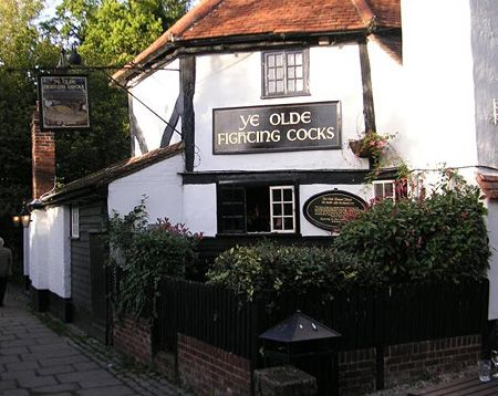 Ye Olde Fighting Cocks Pub. Officially the oldest pub in Britain. The pub dates back to the 8th century although was rebuilt during the 11th century and this is the building still in use today. It is believed that tunnels in the beer cellar are connected to the nearby St Albans Cathedra, Hertfordshire. The pub was once known as the Round House and was originally a pigeon house. Local legend has it that Oliver Cromwell, leader of the Roundheads stayed at the pub.