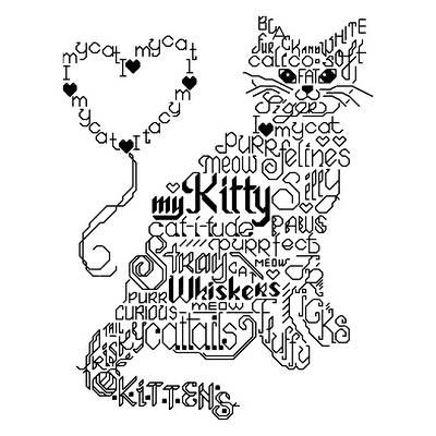 Lets Purr - cross stitch pattern designed by Ursula Michael. Category: Words.