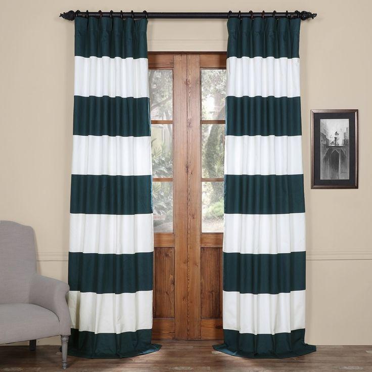 Exclusive Fabrics Cabana Cotton 96-inch Horizontal Stripe Curtain Panel