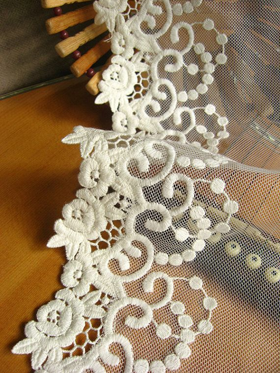 White lace trim embroidered gauze lace antique lace by LaceFun