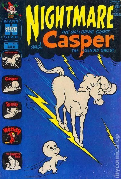 Nightmare and Casper (1963) 3 Harvey Comics publishing vintage comic book cover classic cartoon tv television show friendly ghost wendy