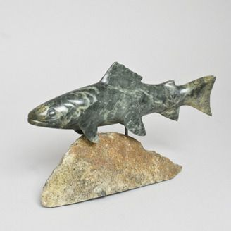 Fine Craft Soapstone Trout by Allan Waidman -Spruce Grove, AB. Member of the Alberta Craft Council.