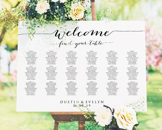 Welcome Wedding Seating Chart Template In Four Sizes 16x20 Etsy Seating Chart Wedding Template Reception Seating Chart Seating Chart Wedding