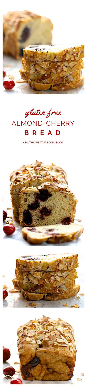 An easy gluten free quick bread recipe featuring fresh sweet cherries — lightly sweetened, it's a wonderful breakfast bread or healthy snack.
