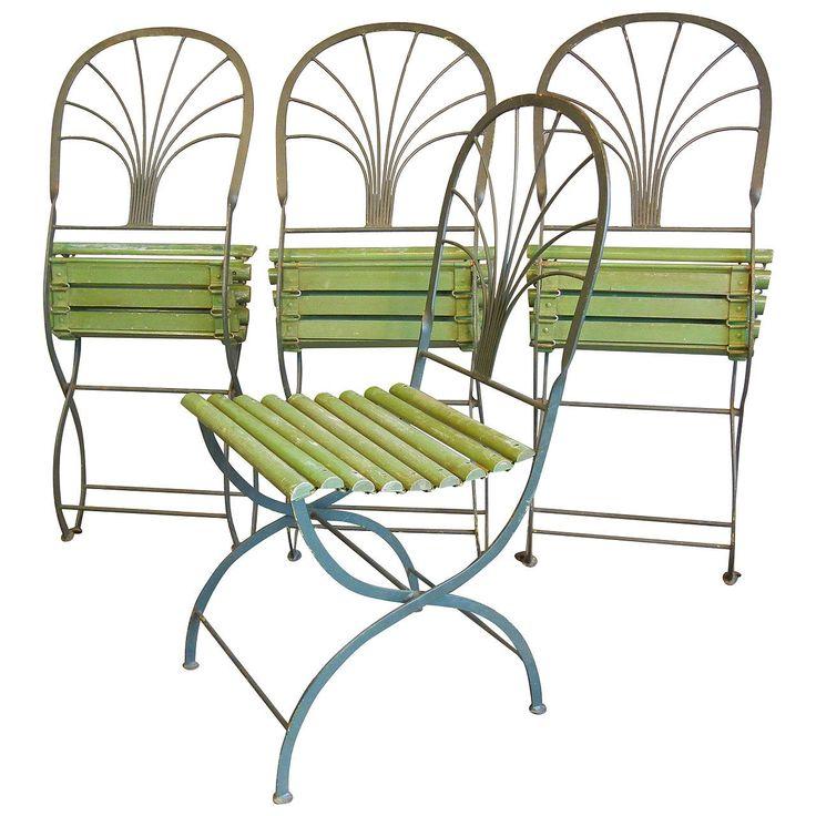 Art Deco Period Folding Garden Chairs, Stylized Palm Trees, Set of Four