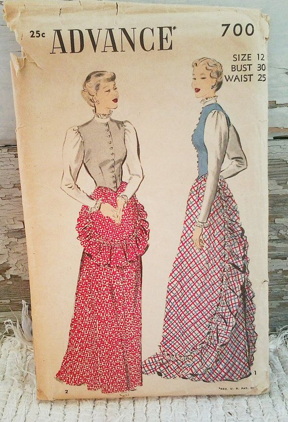 Antique Victorian Lon Skirt Pattern by Advance by happydayantiques