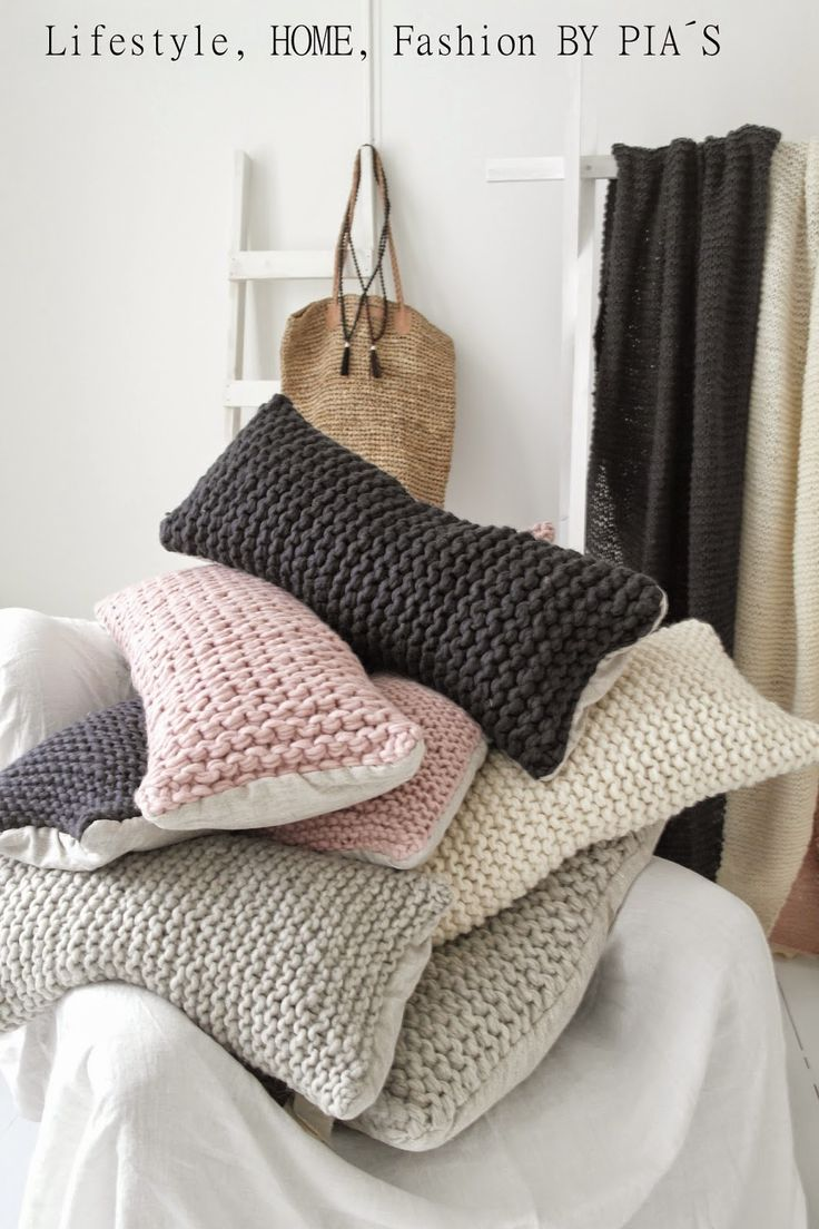 Rowan Chunky Chenille 100% cotton in three different greenish yarns cast on 26 stitches for a square wee cushion cover