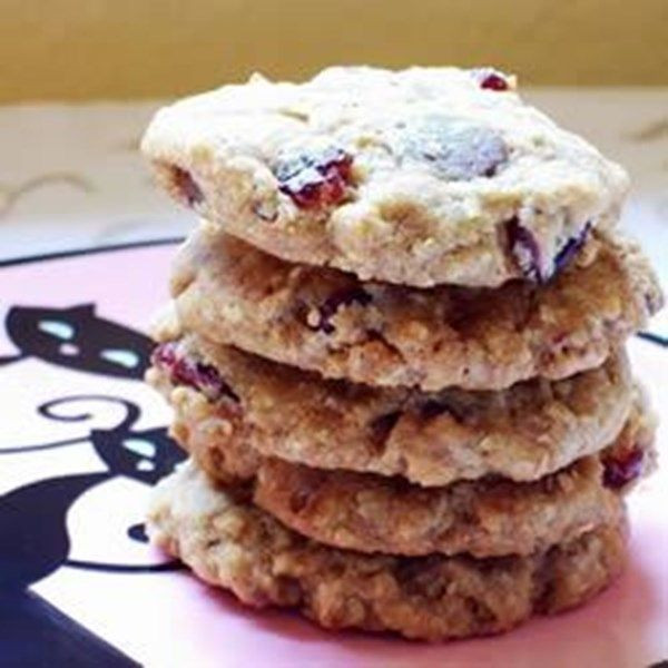 "Chewy Oatmeal Cherry Toffee Crisps | ""This is a favorite cookie in my house. They are crisp on the outside, and slightly chewy in the center."""