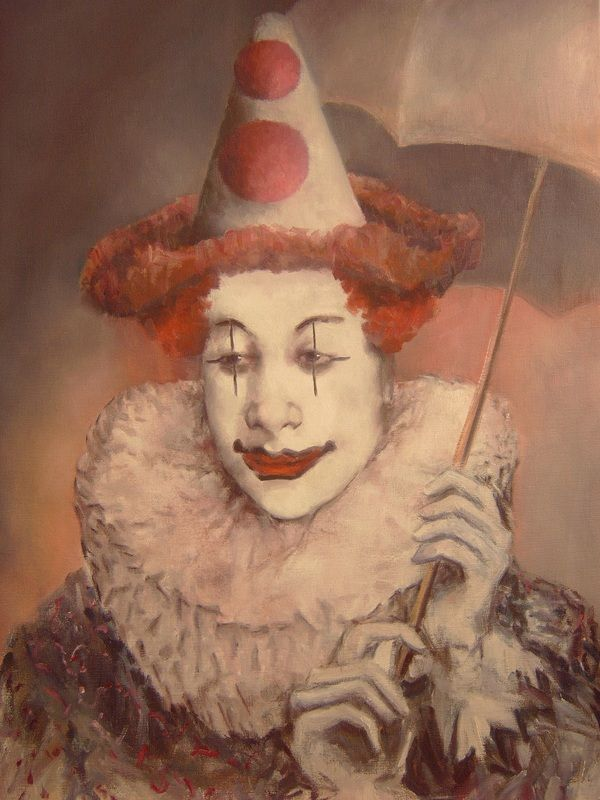 Vintage Sad Clown Painting - 0425