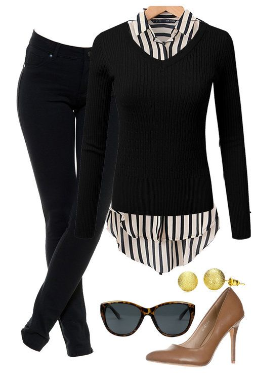 Black Slim Pants Striped Chiffon Top Black Cable Sweater Tan Pumps Gold Stud Earrings Tortoise Sunglasses