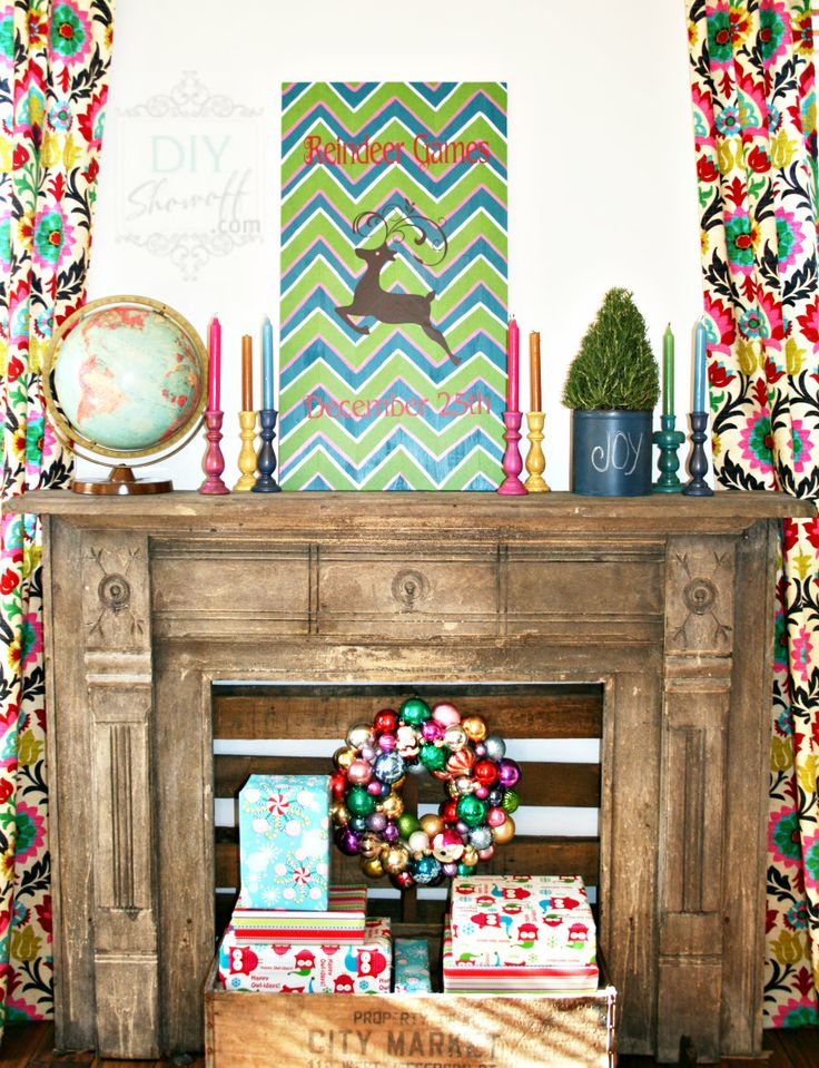 colorful Christmas decor  Source  http://diyshowoff.com/2012/11/23/chevron-reindeer-games-sign-tutorial/#