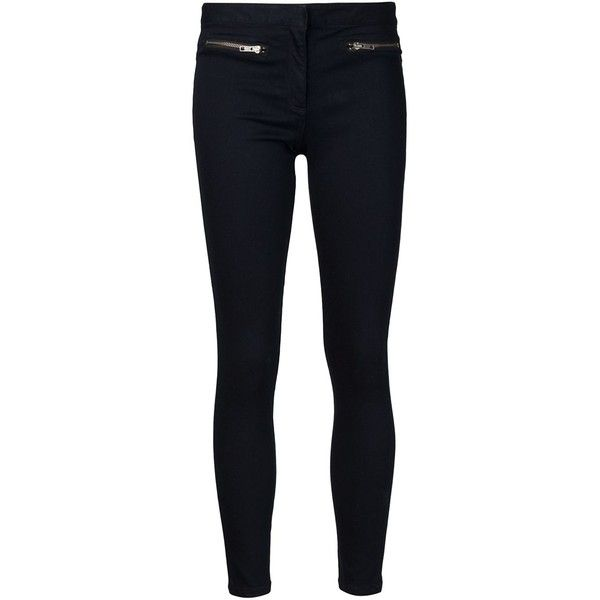 Veronica Beard Skinny Zip Denim Trouser ($250) ❤ liked on Polyvore featuring pants, all bottoms, bottoms, kirna zabete, black skinny trousers, skinny trousers, skinny pants, black skinny leg pants and zipper pocket pants