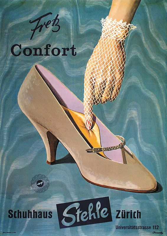 Swiss advertising poster for women's shoes. Illustrated by Jacoby Erhard.  Early 1960s | Shoe prints | Shoe poster, Shoes ads, Shoe advertising