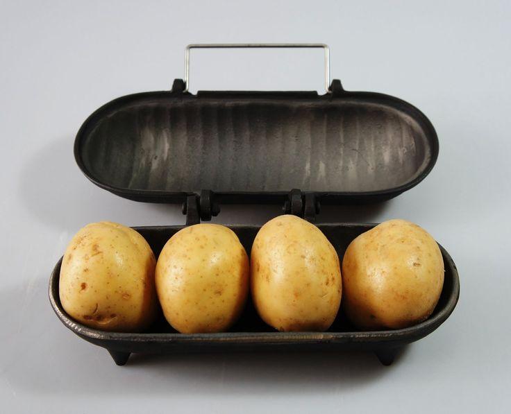 Cast Iron Cooker-Potatoes-4 Potatoes-Chestnuts-Wood Burner-Fuel Burner-Open Fires-Cast Iron-Indoor-Outdoor-Food