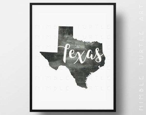 Texas State Outline Watercolor - Printable Texas Wall Art - Comes with Blank…
