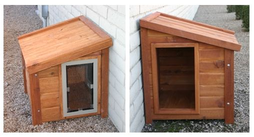 "Not listed as a DIY but looks super easy to do! ""Dog house"" is actually hidden access to a doggie door, providing visual & physical security against intruders."