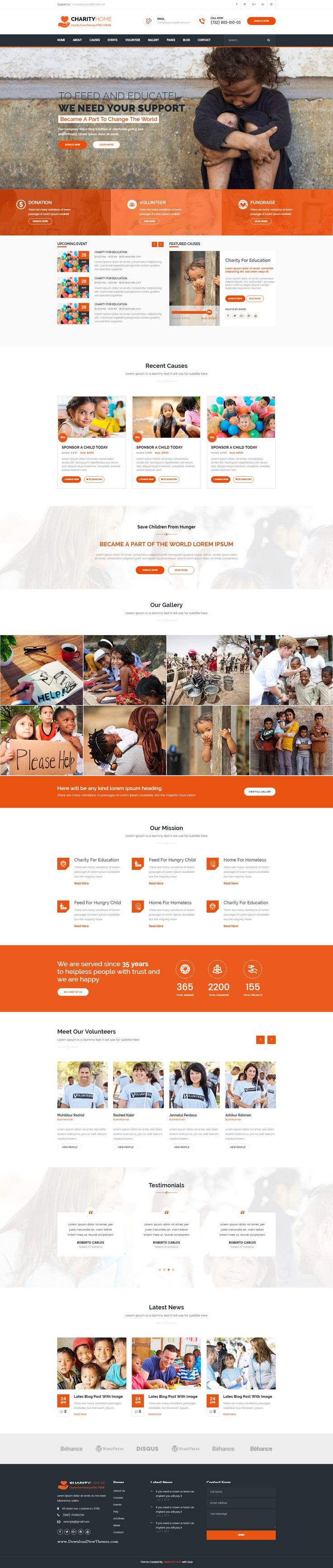 Charity home is a HTML template is created for non-profit websites, like governmental social program #websites, #NGO, Donation and #fundraising websites, etc.