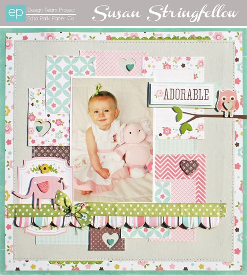 Adorable Layout from Bundle of Joy Girl Collection. #echoparkpaper
