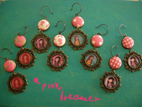 The Pink Dream fabric art illustrated earrings by eltsamp on Etsy, $28.00