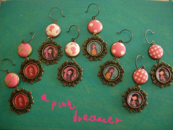 The Pink Dream fabric art illustrated earrings by eltsamp on Etsy, $28.00