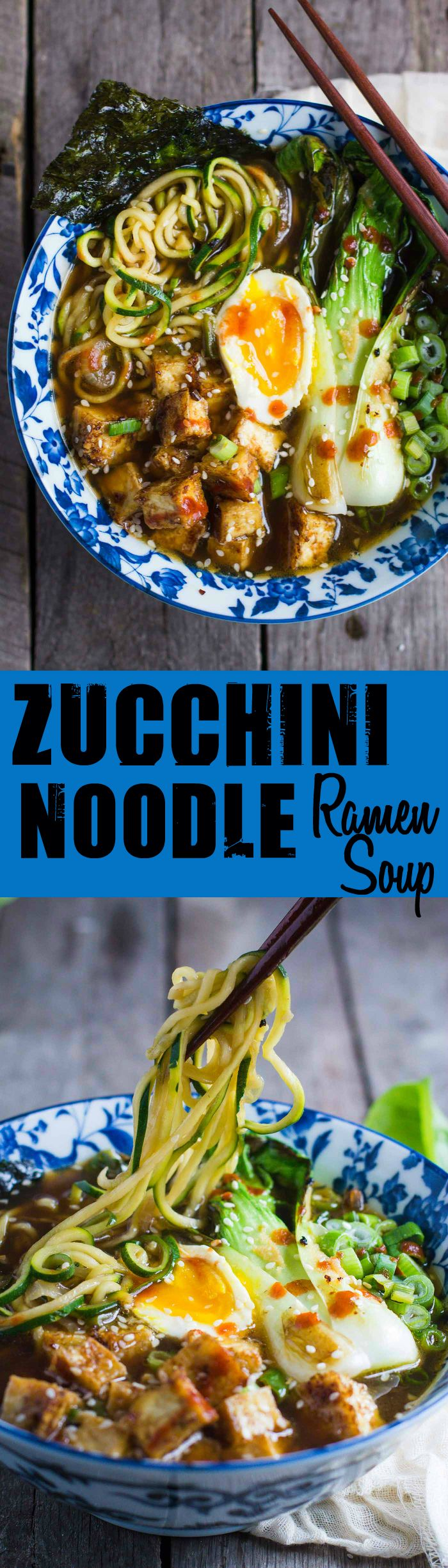 This Zucchini Noodle Ramen Soup is VERY easy to make, gluten free, vegetarian, and even VEGAN is you just leave off the soft boiled egg!