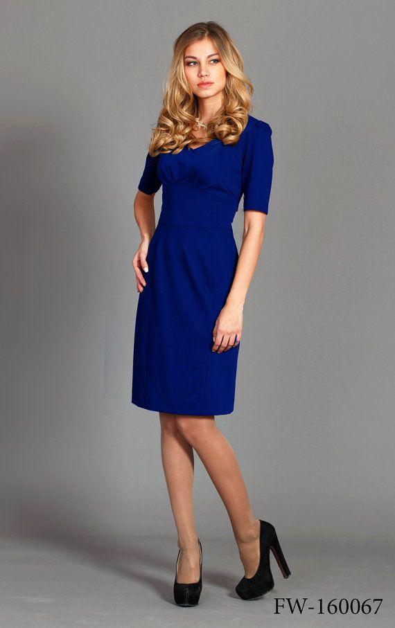 Royal blue V neck pencil dress office dress in by Cultofdress