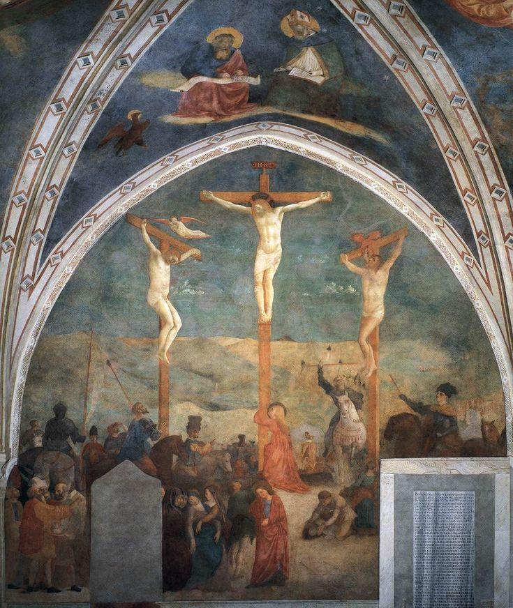 MASOLINO da Panicale Crucifixion (altar wall) 1425-31 Fresco Castiglione Chapel, San Clemente, Rome