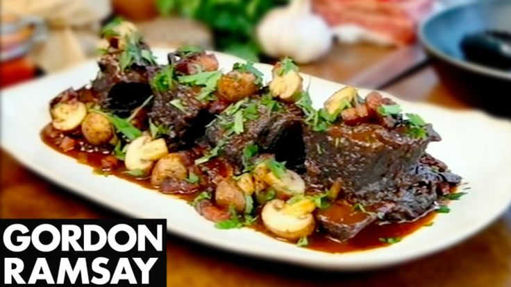 Slow Cooked Beef Short Ribs. Gordon Ramsay. Slow cooking. Braised. Mushroom. Bacon. Lardons. Smoked. Off cuts.
