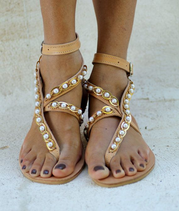 Greek Leather Sandals Decorated With A Gold Chain And
