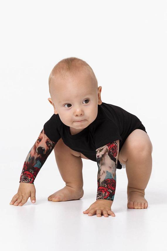 Greatest Associates Child Tattoo Bodysuit, Canine Cat Tattoo, Toddler's Tattoo Sleeve Bodysuit, Toddler Clothes