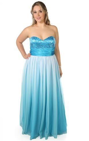 Plus Size Ombre Sequin Strapless Long Prom Dress with Ball Gown Skirt  Might be my senior prom dress, only with a green or orange ombre and with more poof. (: