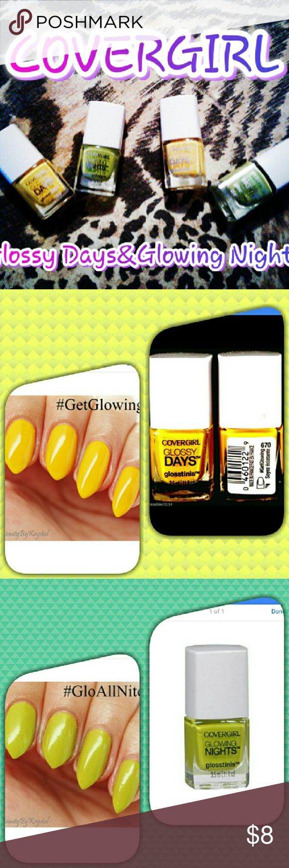 """New Covergirl Nail Polish Sets Covergirl glosstinis glossy days/glowing nights beautiful nail color. Set comes with one """"get glowing"""" (yellow) and one """"glo all night"""" (green). New never opened. Retails up to $7 per bottle. 2 set available at $9.00 a pair.  3.5mL bottles CoverGirl  Makeup"""
