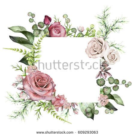 tropical frame, Template. Watercolor illustration isolated on white background. Exotic leaves and herbs. invitation design