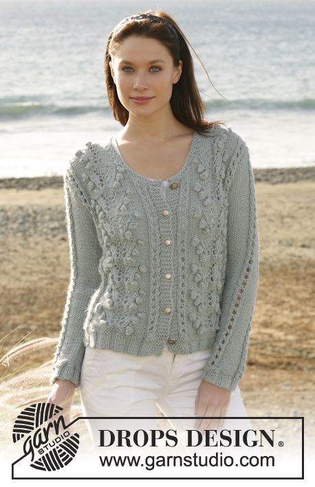 "DROPS cardigan with bobbles and lace pattern knitted in ""Silke-Alpaca"" or 2 strands"