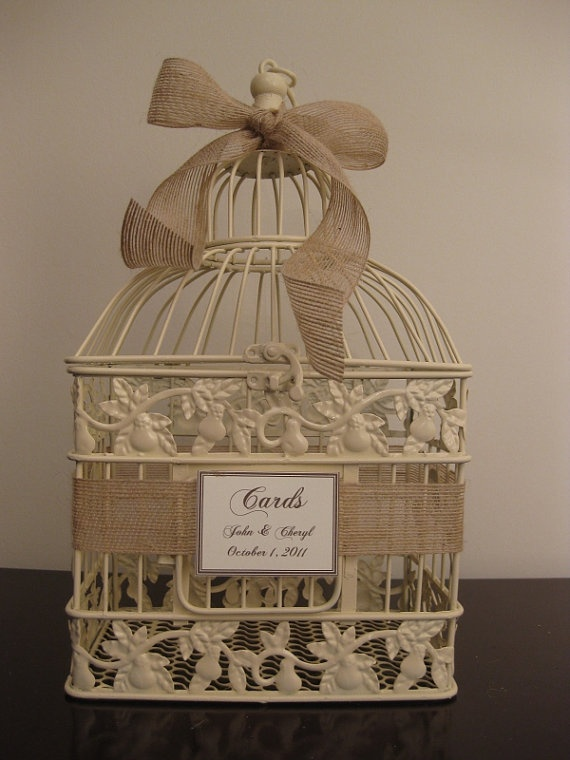 I like using an ivory or white bird cage for winter weddings. You can accent with a bow of bright colors: Birds Cages, Wedding Card Holders, Birdcage Wedding, Cards Boxes, Bird Cages, Wedding Cards Holders, Burlap Ribbon, Small Birdcages, Card Boxes