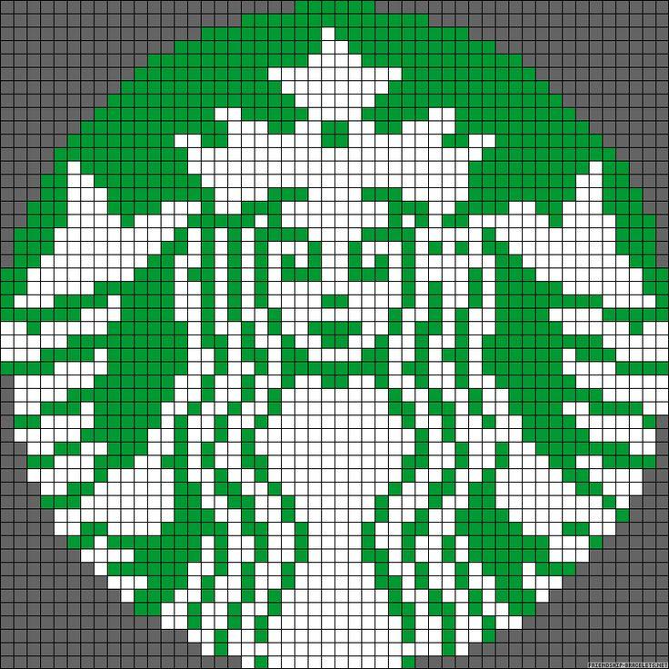 Starbucks Coffee logo perler bead pattern @Kristin Godwin .. bet you could cross stitch this