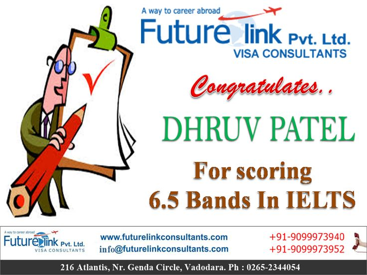 Future Link Consultants Wishes A Bright Future To Mr. Dhruv Patel ! The one-stop training center for IELTS, TOEFL, GRE, GMAT, SAT... To know more ...  Visit : http://www.futurelinkconsultants.com/ Call us at : 9099973940 / 9099973952 https://www.facebook.com/Futurelinkconsultants