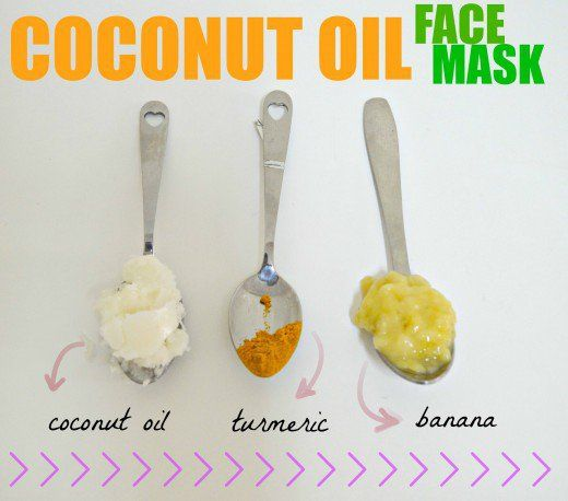 This banana turmeric coconut oil face mask fights acne and moisturizes skin.