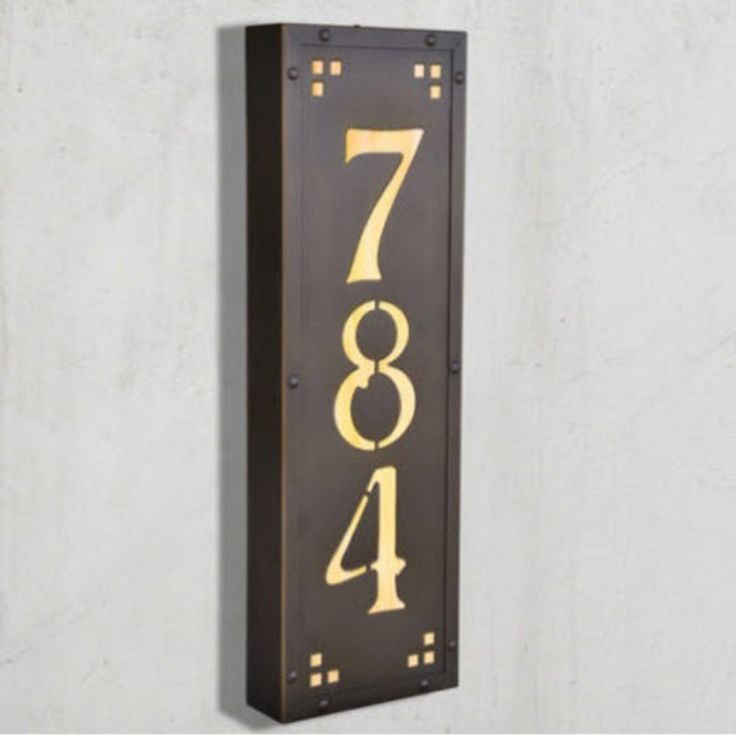 Americas Finest Lighting Pasadena Ave Vertical 12 Volt Illuminated House  Numbers - Medium Honey - AF
